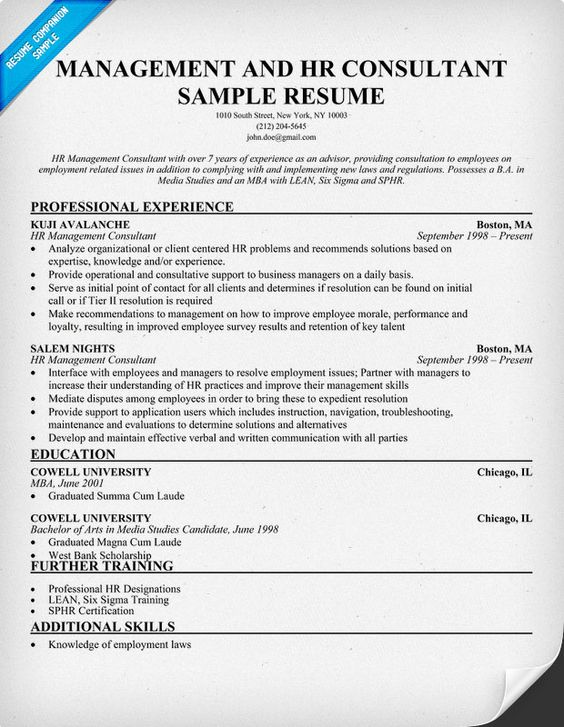 Management And HR #Consultant Resume (resumecompanion - hr sample resume