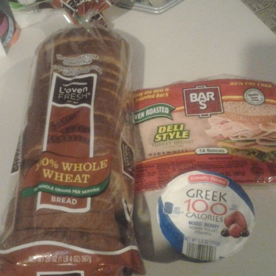 Loaf of wheat bread, deli turkey breast & Greek Yogurt!  Good ol faithfuls who have committed to my Inner Circle!  http://on.fb.me/1niujtJ  #bread #breads #yogurt #yogurts #GreekYogurt #deli #turkey #turkeybreast #meal #lunch #breakfast #dinner #break #work #calorie #calories