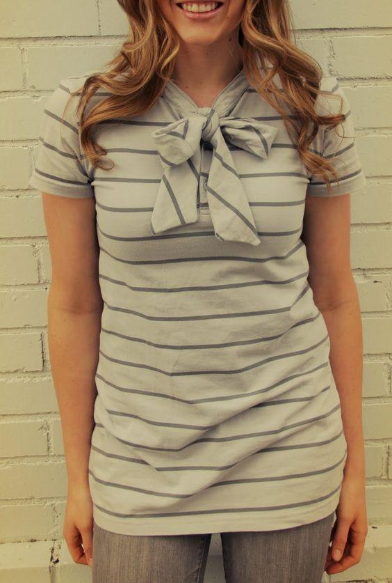 grey luster girl: Men's Polo To Woman's Bow Shirt Refashion