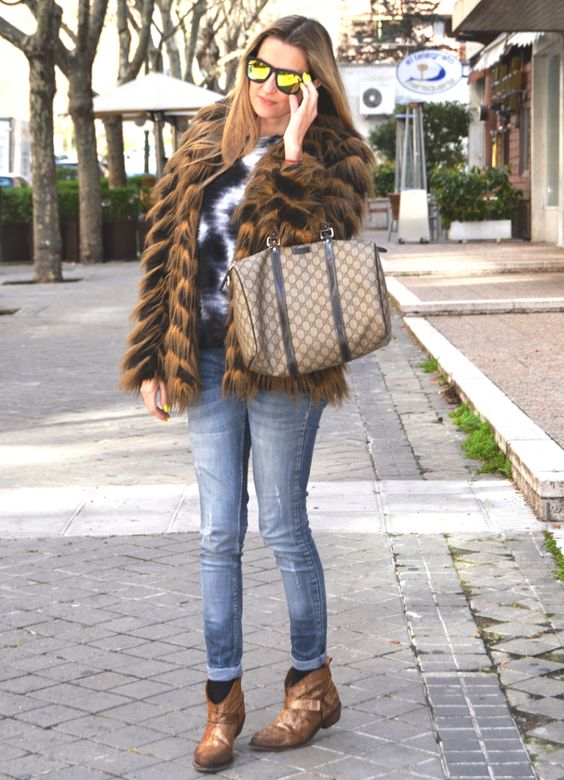 Fur and cow boy boots