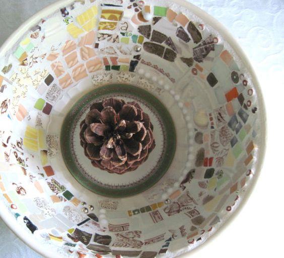 Mosaic Farmhouse Mixing Bowl Pique Assiette by rushcreekmosaics, $95.00