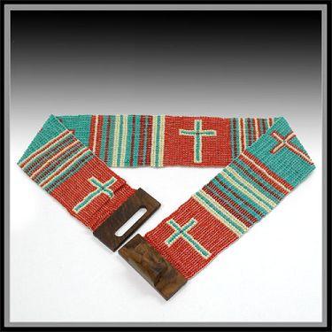 Beaded Cross Wide Stretch Belt