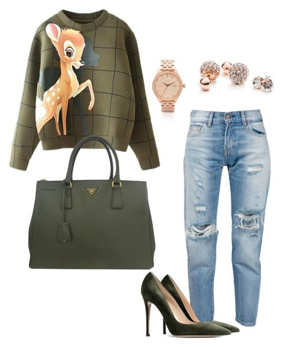 """""""Untitled #779"""" by lolatruth ❤ liked on Polyvore featuring Levi's, Gianvito Rossi, Prada, Nixon and GUESS"""