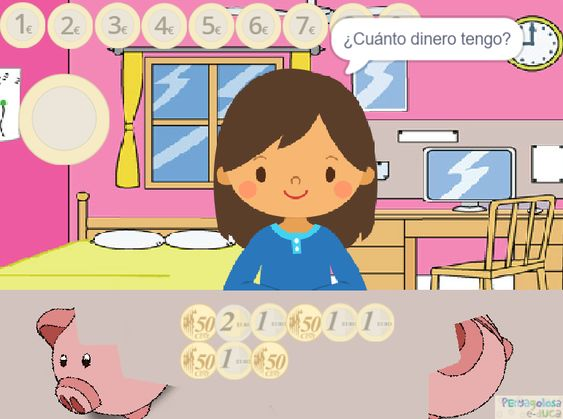Contar dinero de la hucha (50c, 1 y 2 euros)(1-9)