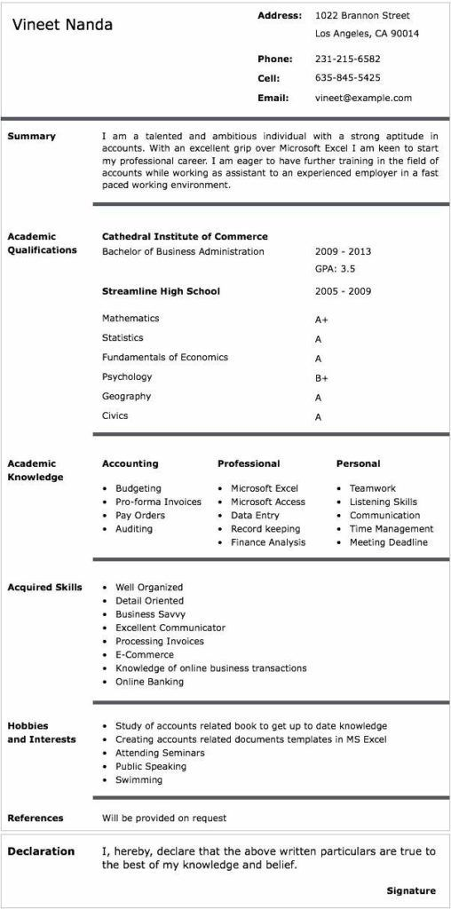 Cv Template Kenya Teacher Resume Template Resume Summary