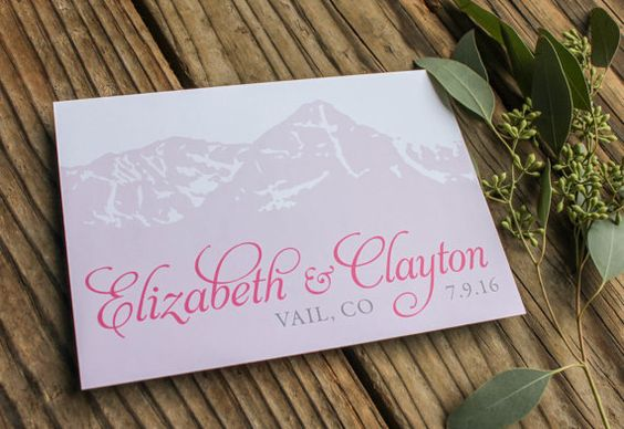 Mountain Wedding Save the Date Card / Pink, Lavendar, & white / Mount of Holy Cross by Four 13 Designs