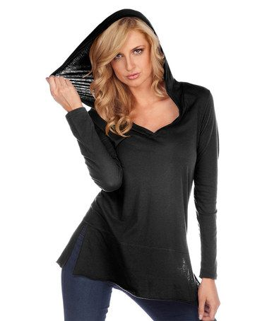 Love this Black Yoga Hooded Tunic on #zulily! #zulilyfinds