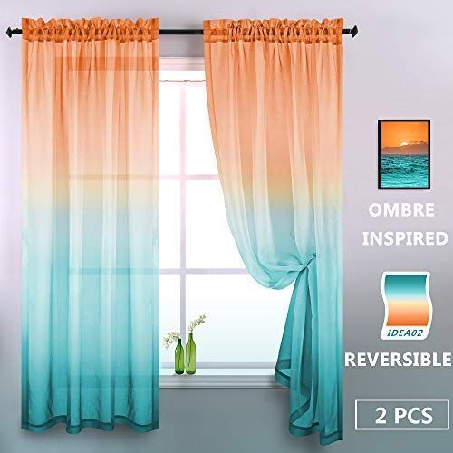 Orange And Green Sheer Curtains 84 Inches Long 2 Panels Modern Two Tone Window S Curtains Green Inches In 2020 Orange Curtains Green Sheer Curtains Ombre Curtains