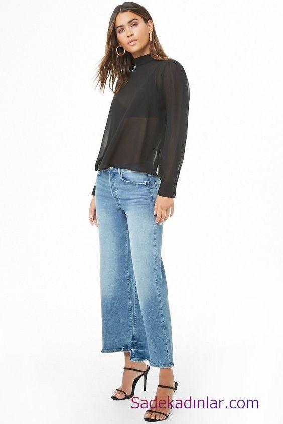 Siyah Gomlek Kombinleri Bayan Mavi Mom Jeans Siyah Transparan Uzun Kol Gomlek Siyah Stiletto Ayakkabi Moda Stilleri Moda Moda Trendleri
