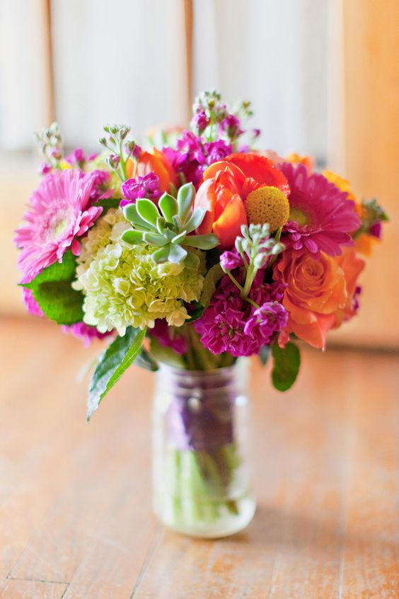 Zilker park clubhouse wedding floral arrangements for Bright wedding bouquet