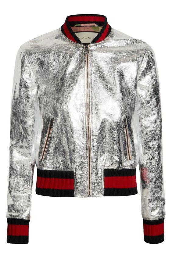 Gucci | Metallic leather bomber jacket | NET-A-PORTER.COM: