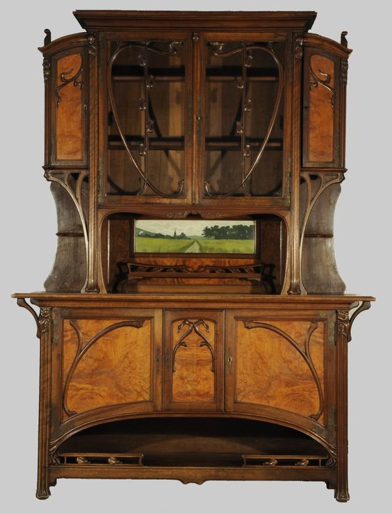l on b nouville 1860 1903 attributed buffet cabinet carved walnut ash burl glass and a. Black Bedroom Furniture Sets. Home Design Ideas