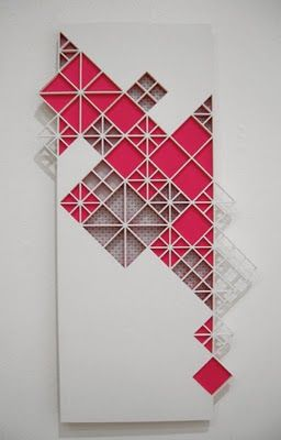 Exploration of geometrics, repeating patterns and flourescents with wood and paper. So pretty!