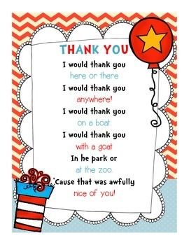 Use This Adorable Dr Seuss Themed Thank You Note For Your