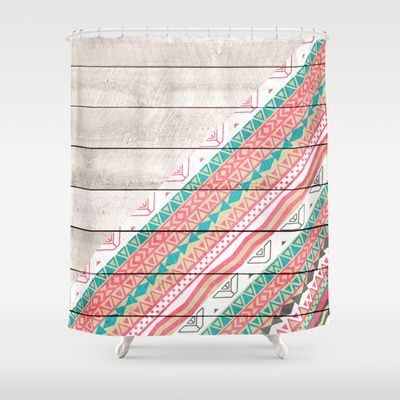 Curtains Ideas coral chevron shower curtain : Andes Tribal Aztec Coral Teal Chevron Wood Pattern Shower Curtain ...