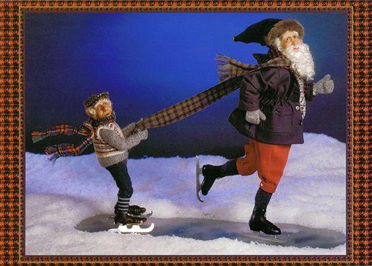 Santa skates with his help