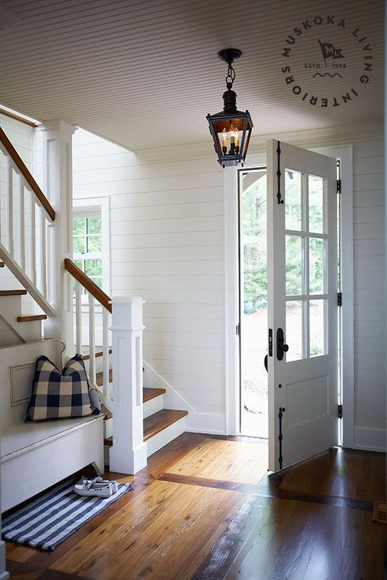 Muskoka Living |ML - Juddhaven - true cottage style, casual, crisp, white with wood, wood planks, horizontal, beadboard, iron door hardware, blue fabric, white