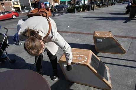 The Greenway just introduced solar paneled chargers!!! http://www.bostonglobe.com/business/2013/11/05/seat-can-recharge-phones-connect-web/y1ErvQGeKbaAC644RRqceN/story.html