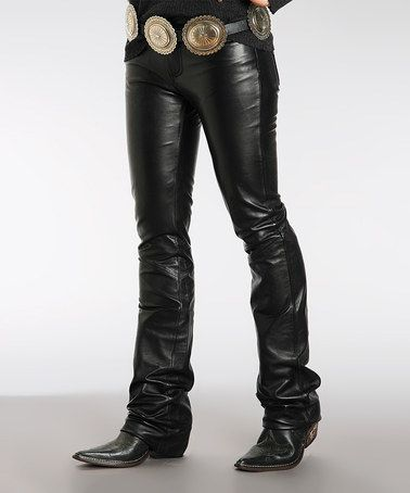 Look what I found on #zulily! Black Lambskin Leather Bootcut Pants ...
