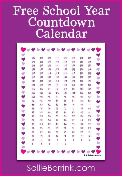 Free School Year Countdown Calendar Printable Countdown Calendar