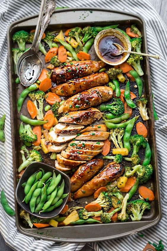 One Pan Teriyaki Chicken makes the perfect easy weeknight meal. Best of all, this recipe is made entirely on one sheet pan with a side of healthy vegetables