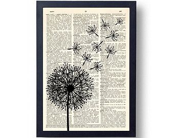 Dandelion Dictionary Page Print, Wall Art Print, Dictionary Art Print, 8x10 Wall Decor, Dictionary Print, Poster, Wall Decal
