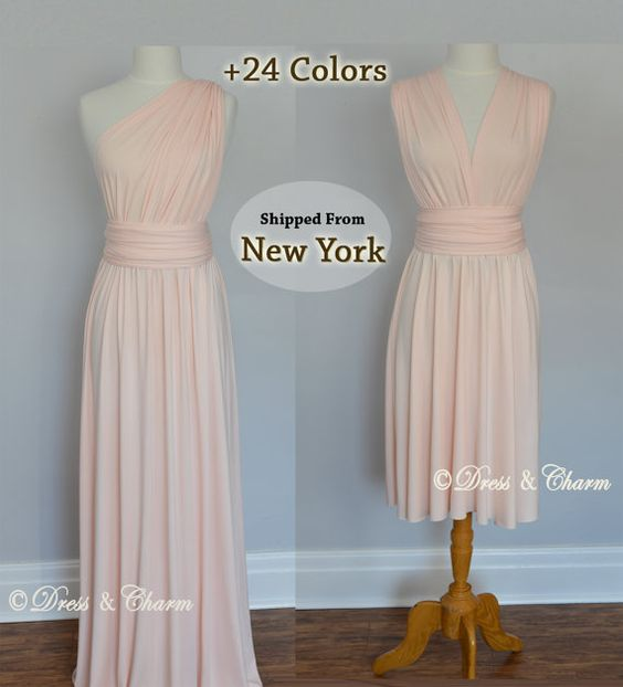 Blush Bridesmaid dress infinity dress by justDressAndCharm on Etsy