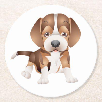 Cute Beagle Mom Dog Lover Puppy Dad Cartoon Pup Round Paper