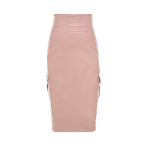 Dominga' Blush Vegan Leather Pencil Skirt ❤ liked on Polyvore ...