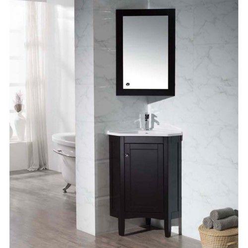Stufurhome Monte 25 In Corner Bathroom Vanity With Medicine Cabinet White Corner Bathroom Vanity Bathroom Vanity Corner Vanity