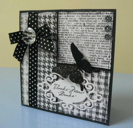 Black and White butterfly thank you card: