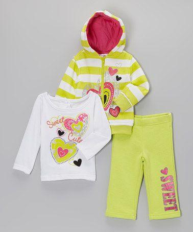 Look what I found on #zulily! Green Stripe Heart Zip-Up Hoodie Set - Infant #zulilyfinds