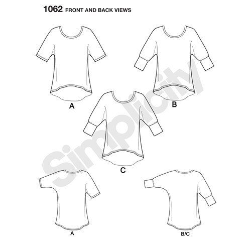 Simplicity Pattern 1062 Misses' Learn to Sew Knit Tops