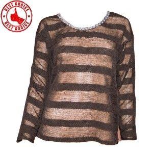 Black transparent stripes sequin embellished sweet sweater