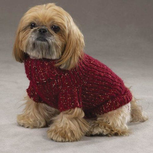 Free Dog Knitting Patterns : Free Dog Sweaters to Knit Zack & Zoey Chunky Metallic Knit Dog Sweater ...