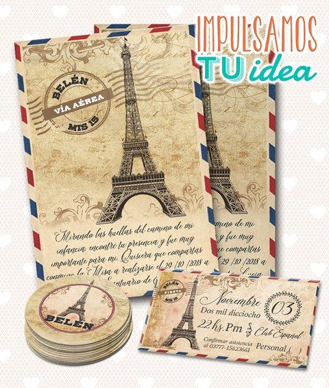 Tarjeta De 15 París Vintage Personal Topper Para Imprimir