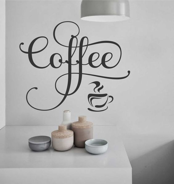 Fancy coffee vinyl word kitchen decal vinyl wall for Letter decals for cups