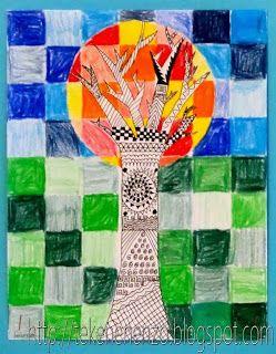 Benodigdheden: 1.tekenpapier op 21 bij 27 cm 2.liniaal 3.potlood 4.kleurpotloden 5.zwarte fineliners Teken een rasterpatroon van blokken 3 bij 3 cm. Trek een cirkel iets boven het midden van het blaadje. Teken een boom en zorg dat de takken binnen de cirkel vallen. Teken met een zwarte stift patronen in de stam en de takken. Kleur de blokken in de cirkel in met warme kleuren. Kleur de blokken buiten de cirkel in met koude kleuren en maak daarbij het verschil tussen onder en boven de…