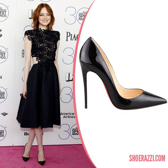 Emma Stone in Christian Louboutin So Kate Pointed-Toe Pumps - ShoeRazzi