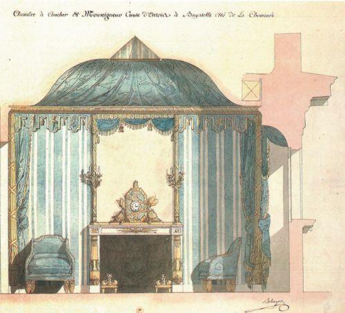 """Belenger: projet de la chambre du comte d'Artois à Bagatelle.- 10) COMTE D'ARTOIS A L'ARSENAL: ..du roi Soleil. La devise de l'artillerie, le nom du canon """"la Mutine"""" tel que l'on peut le voir au musée de l'Armée dans la cour d'honneur des Invalides à Paris. Si le modèle du canon est connu, il convient de se demander qui aurait pu le décliner en bras de lumière. En restant dans la mouvance du Comte d'Artois, on peut citer le beau-frère de l'architecte Delanger, Jean-Démosthène Dugourc qui…"""
