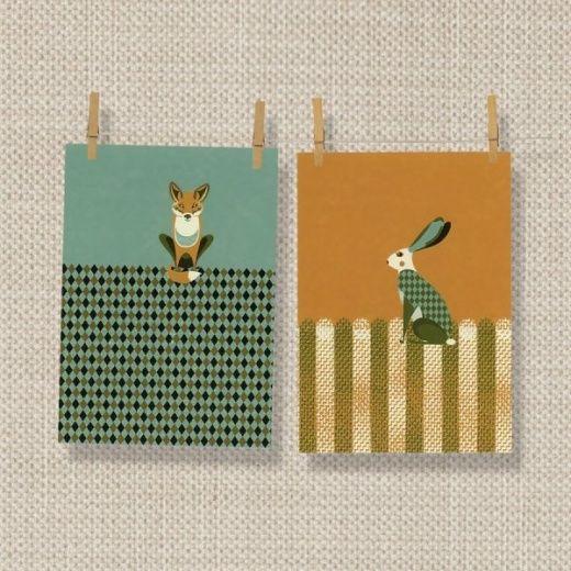 Magpie Dusk Wildlife Tea Towels 2 Pack : Fox & Hare