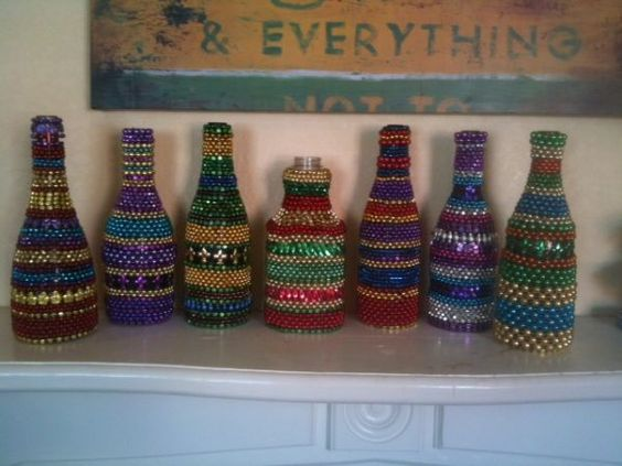 Amazing Bottles with Mardi Gras beads ~ One of the kind ~ Arts