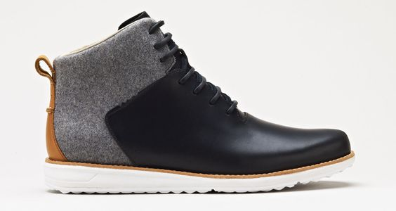 Black Leather and Gray Wool Chukka Boot with White Soles, by GATLAND W0223. Mens Fall Winter Fashion.