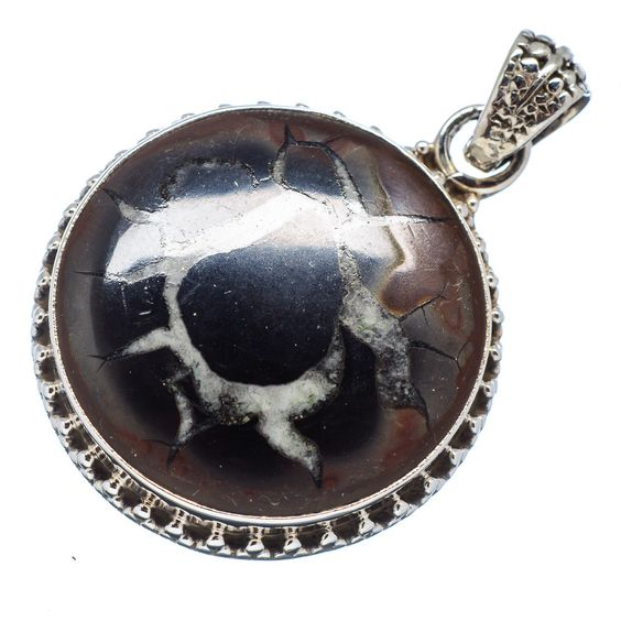 """Septarian Geode 925 Sterling Silver Pendant 1 1/2"""" PD481540"""