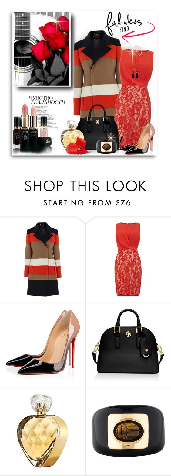 """Untitled #289"" by mlka ❤ liked on Polyvore featuring Prada, Karen Millen, Little Mistress, Christian Louboutin, Tory Burch, Antonio Marras, Elizabeth Arden, Kara by Kara Ross and Lizzie Fortunato Jewels"