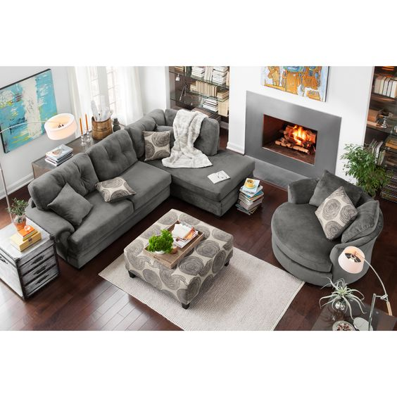 American Signature Furniture - Grey Cordoba 2 Pc. Sectional u0026 Round Love Seat | For the Home | Pinterest | Sectional furniture Upholstery and Gray  sc 1 st  Pinterest : american signature furniture sectionals - Sectionals, Sofas & Couches