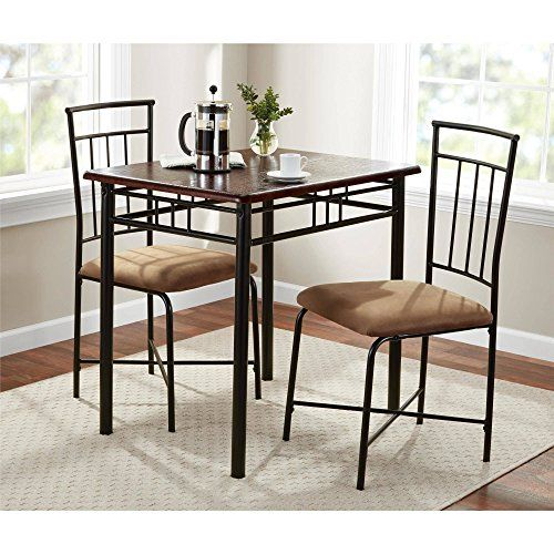 3 Piece Dining Set Wood And Metal Construction Set Includes 1