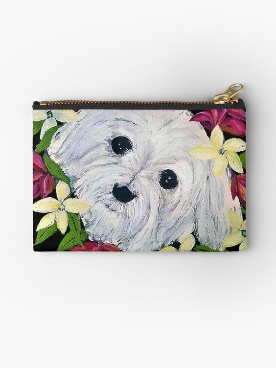 Cute Studio pouch in a Maltese dog and tropical flower design. See the range of products in this design at Red Bubble. #online shopping #Maltese #dog #giftideas
