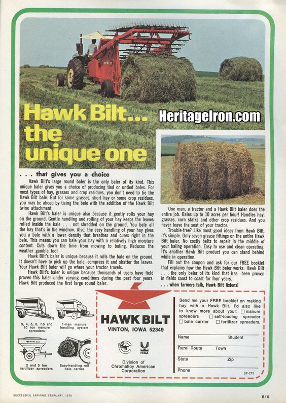 Hawk Bilt, featured in Issue #40 of Heritage Iron. (Successful Farming, February 1975) #HeritageIron #MuscleTractor