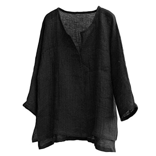 DIOMOR Mens Baggy Cotton Linen 3//4 Sleeve Henleys Button Retro Pure Color V Neck T Shirts Tops Blouse